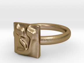 16 Ayn Ring in Polished Gold Steel: 7 / 54