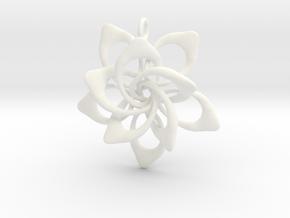 Petal Rings 5 Points - 2 Tiers - 4cm - wLoopet in White Processed Versatile Plastic