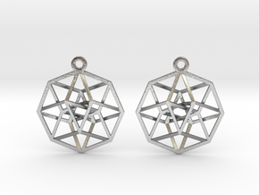 Tesseract Earrings in Natural Silver