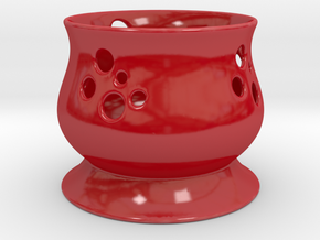 Candle Holder FF in Gloss Red Porcelain