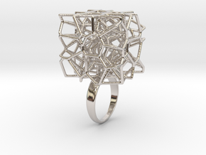 Voronoi Cube Ring (size 5) in Rhodium Plated Brass