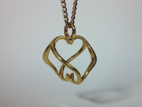 """Heart to Heart"" Pendant in Polished Brass"