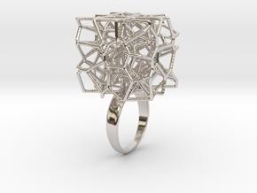 Voronoi Cube Ring (Size 7) in Platinum