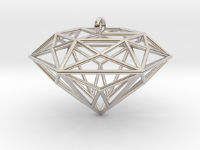 Diamond Ornament in Rhodium Plated Brass
