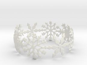 Snowflake Bangle (medium) in White Natural Versatile Plastic: Medium