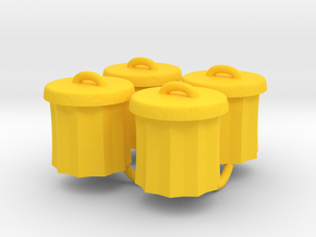 Power Grid Garbage Pails - Set of 4 in Yellow Processed Versatile Plastic