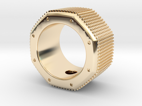 octagon ring with squares Ø17,5mm in 14k Gold Plated Brass