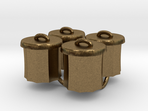 Power Grid Garbage Pails - Set of 4 in Natural Bronze