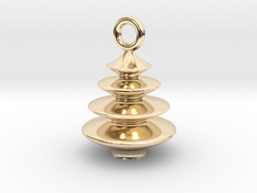 Xmas Tree Pendant 2cm tall in 14k Gold Plated Brass
