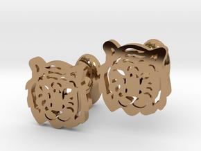 Tiger Cufflinks in Polished Brass