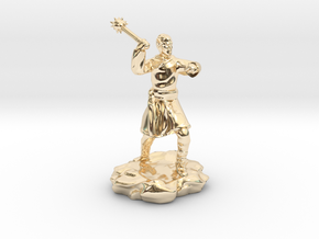 High Elf (Eladrin) Monk With Mace in 14k Gold Plated Brass