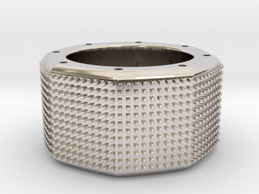 octagon ring with squares Ø18mm in Rhodium Plated Brass