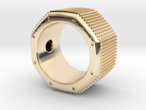 octagon ring with squares Ø18,5mm in 14k Gold Plated Brass