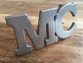 Custom Monogram Belt Buckle - MC in Polished Nickel Steel