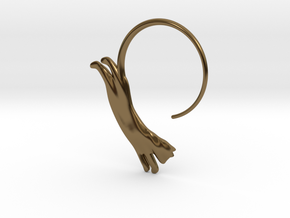 Leaping Cat Earring in Polished Bronze