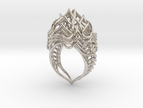 Ring The Lotus Flower Tower  in Rhodium Plated Brass