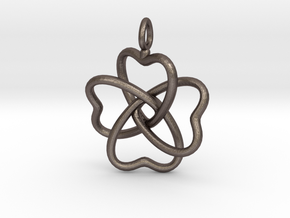 Heart Petals 4 Leaf Clover - 3.3cm - wLoopet in Polished Bronzed Silver Steel