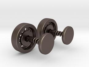 Formula 1 Wheel cufflinks in Polished Bronzed Silver Steel