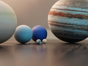 The 8 planets of the Solar System to scale  in Full Color Sandstone