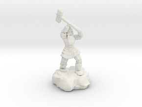 Dwarf Fighter With Warhammer in White Natural Versatile Plastic