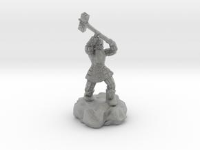Dwarf Fighter With Warhammer in Metallic Plastic