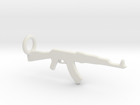 AK 47 Keychain in White Natural Versatile Plastic