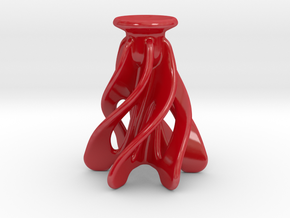 Christmas Candle Holder in Gloss Red Porcelain
