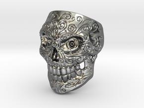 SkullPrintSize9 in Polished Silver