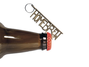 """HOMEBREW"" Bottle Opener Keychain - Customizable in Polished Bronzed Silver Steel"