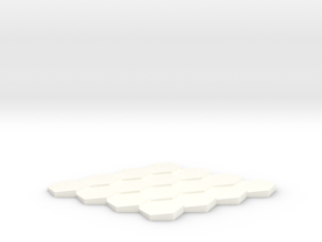 Tilted Hex Grid 4x4 in White Strong & Flexible Polished
