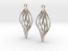 Leaf Earrings in Rhodium Plated Brass
