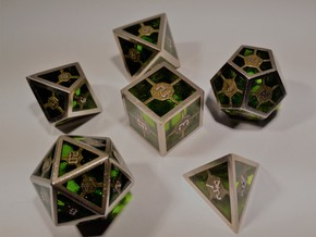 Epoxy Dice Set  in Stainless Steel