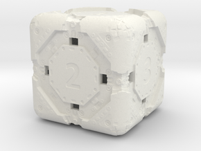 High-Detail Heavy Sci-Fi Dice D6 in White Natural Versatile Plastic: d6
