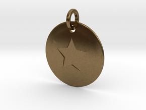 Custom Captain America Pendant in Natural Bronze (Interlocking Parts)