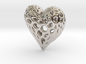 Organic Heart Necklace in Rhodium Plated Brass