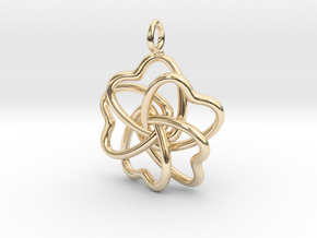 Heart Petals 5 Leaf Clover - 3.5cm - wLoopet in 14K Yellow Gold
