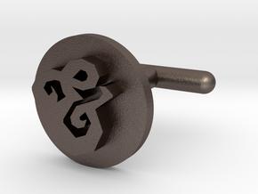 Cufflink - & in Polished Bronzed Silver Steel