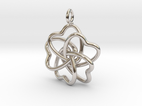 Heart Petals 5 Leaf Clover - 3.5cm - wLoopet in Rhodium Plated Brass