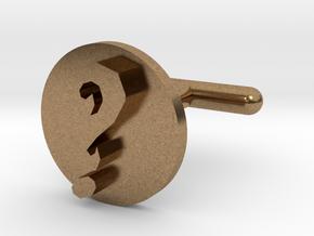 Question Mark Cufflink  in Natural Brass