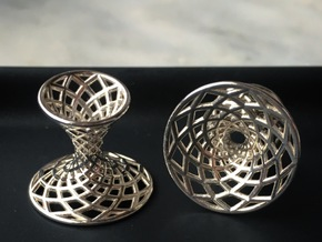 Diagrid Cufflinks - Circle in Fine Detail Polished Silver