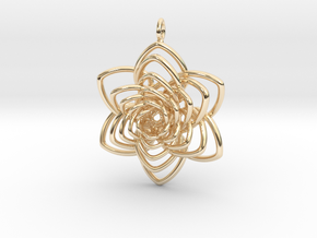 Heart Petals 6 Points Spiral - 5cm - wLoopet in 14K Yellow Gold