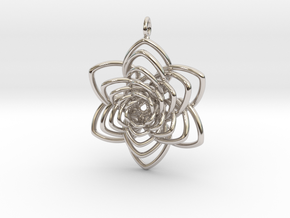 Heart Petals 6 Points Spiral - 5cm - wLoopet in Platinum