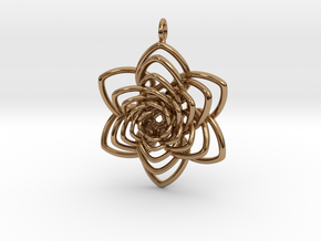 Heart Petals 6 Points Spiral - 5cm - wLoopet in Polished Brass