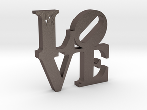 LOVE Sculpture  in Polished Bronzed Silver Steel
