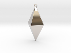 Z Crystal Pendant in Rhodium Plated Brass