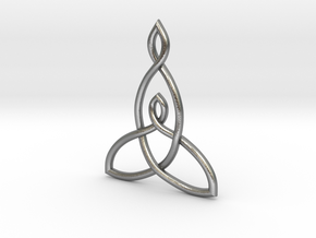 Mother And Child Knot Pendant in Raw Silver: Small