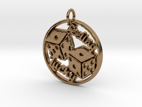 Feeling Lucky Dice Pendant in Natural Brass