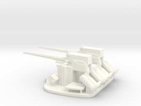 1/144 Scale 3 In 50 Cal Twin Mount in White Strong & Flexible Polished