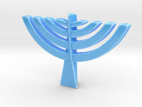 Chanukiah/Menorah in Gloss Blue Porcelain