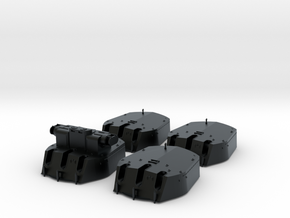 1/144 RN 6 Inch MKXIII Crown Colony Class Turrets  in Black Hi-Def Acrylate